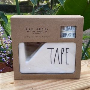 New Rae Dunn TAPE Dispenser & Washi Tape Set